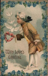 With Love's Greeting Man holding heart flower wreath and doves flying Postcard