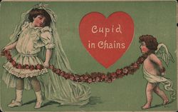 Cupid in Chains - A Girl Holding Cupid on a Chain of Flowers Postcard