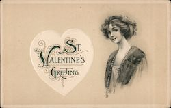 St. Valentine's Greeting Woman's portrait Postcard