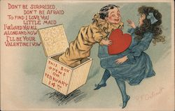 Jack in the box surprising woman with heart Comic Postcard