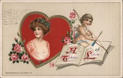 A token of love, Cupid on book, Woman in Heart Frame with roses Postcard