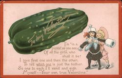 To my Valentine- Large pickle- woman hugging man Comic Postcard