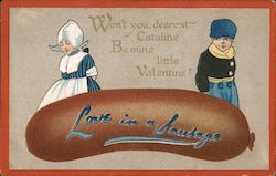 Love in a Sausage- A girl and boy and a sausage Comic Postcard