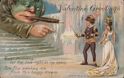 Nemo Valentine's Greetings- Giant smoking, man with sword defending princess