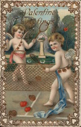 Valentine's Greetings - Cupids playing tennis with hearts
