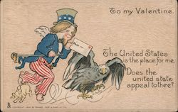 To My Valentine Patriotically dressed male with a valentine and an Eagle Postcard