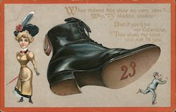 "Woman and Large boot with ""23"" on bottom kicking small man Comic Postcard"