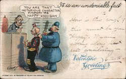 Valentine Greetings - A Man in Court Postcard