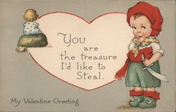 My Valentine Greeting - impish boy dressed as pirate, girl in distance Postcard