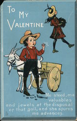 To my Valentine- Man with goat and wagon, woman walking away Comic Postcard
