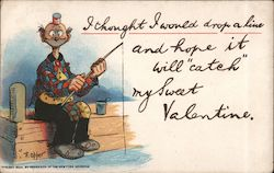 "Man Fishing, I Thought I Would Drop a Line and Hope it Will ""Catch"" My Sweet Valentine. Postcard"