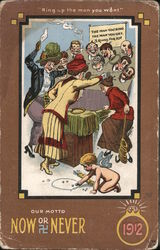Woman Play Ring Toss with Men's Heads, Cupid Plays Marbles Comic Postcard