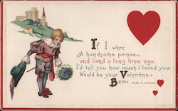 A Castle, a boy, and a heart If I were a handsome prince and lived a long time ago Postcard