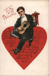To my Valentine A Man sitting on a heart playing guitar Postcard