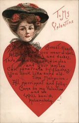 To My Valentine - Woman with Veil Behind Large Heart with Poem