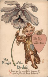 Boy in Armor with Wings, Heart Shield, and Large Orchid, The Knight of the Orchid, For My Valentine