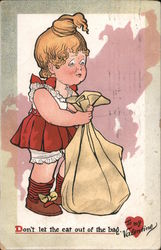 To my Valentine-Don't let the cat out of the bag- girl holding bag Comic Postcard
