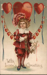 With Loves Greeting- Girl holding wishbone, hearts and arrow