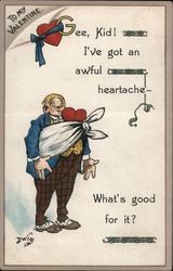 To my Valentine, Cartoon Man with a bandaged Heart Postcard