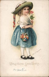Valentine Greetings Girl with Rose