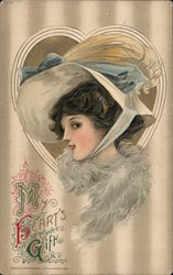 My Heart's Gift Woman Wearing Hat in a Heart Postcard