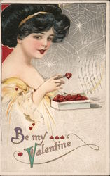Woman Eating Heart Candies Postcard