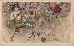 Boy with Wings Kicks Heart, Flowers in Background, A Valentine Message