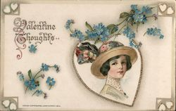 Woman in Hat, Blue Flowers, Valentine Thoughts Postcard