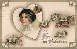 To my Valentine Woman In Heart with Dogwood Postcard