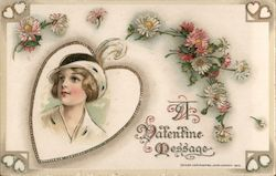 Woman in Heart Surrounded by Flowers, A Valentine Message Postcard