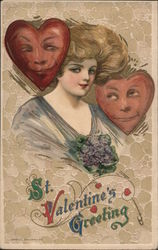 Woman and Two Hearts with Faces, St. Valentine's Greeting Postcard