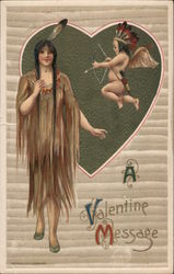 A Valentine's Message Cupid striking Native American Woman Postcard