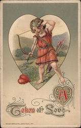 Cupid Aims Bow at Heart on Ground, A Token of Love Postcard