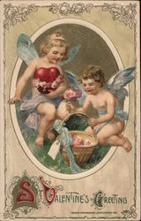 St. Valentine's Greeting Two cupids and flower basket Postcard