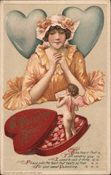 A Valentine's Heart - Cupid emerging from box of candy to greet a woman with a Valentine message Postcard