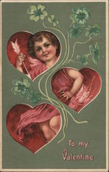 Cupid shown inside 3 hearts with green flowers