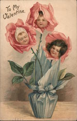 To my Valentine- Three Roses with children's faces in a blue pot