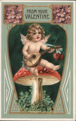 From Your Valentine- Cupid sitting on mushroom playing Ukelele