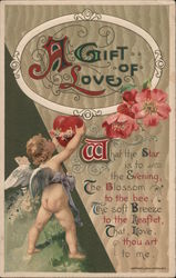 Cupid holding a heart with flowers Postcard