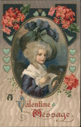 A Valentine Message Woman in frame with Flowers and hearts Postcard