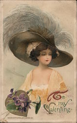 To My Valentine - A Woman in a Large Hat Postcard