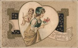 St. Valentines Greeting Cupid looking over woman with bouquet in heart frame Postcard