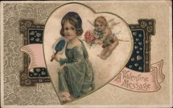 Cupid and girl Postcard