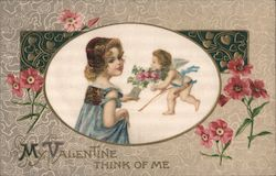 My Valentine, Think of Me, Girl receiving flowers from Cupid Postcard