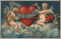 To my Valentine- Two Cupids putting blue flowers around a heart in the sky