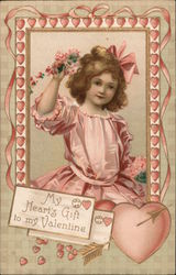 My heart's gift to my Valentine- Girl holding flowers in heart frame