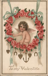 To My Valentine- Cupid in Rose Wreath with anchor and heart pendants