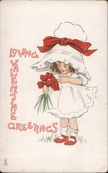 Loving Valentine Greetings Little Girl with Heart Bouquet Postcard
