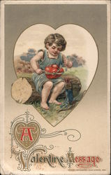 A Valentine Message Cupid sitting on log tying together two hearts Postcard