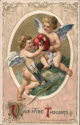 Valentine Thoughts- Two cupids and a heart